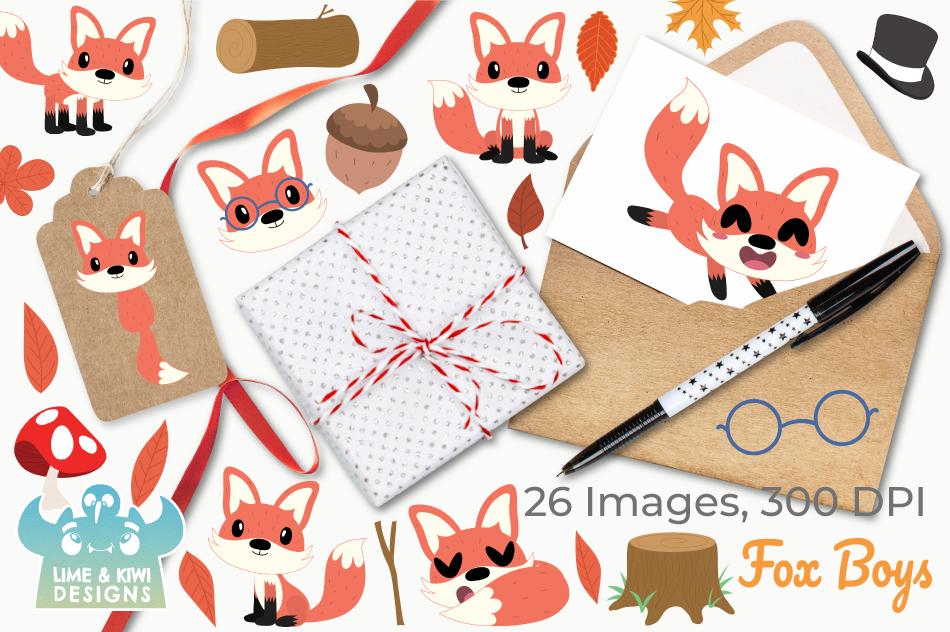 Fox Boys Clipart, Instant Download Vector Art example image 4