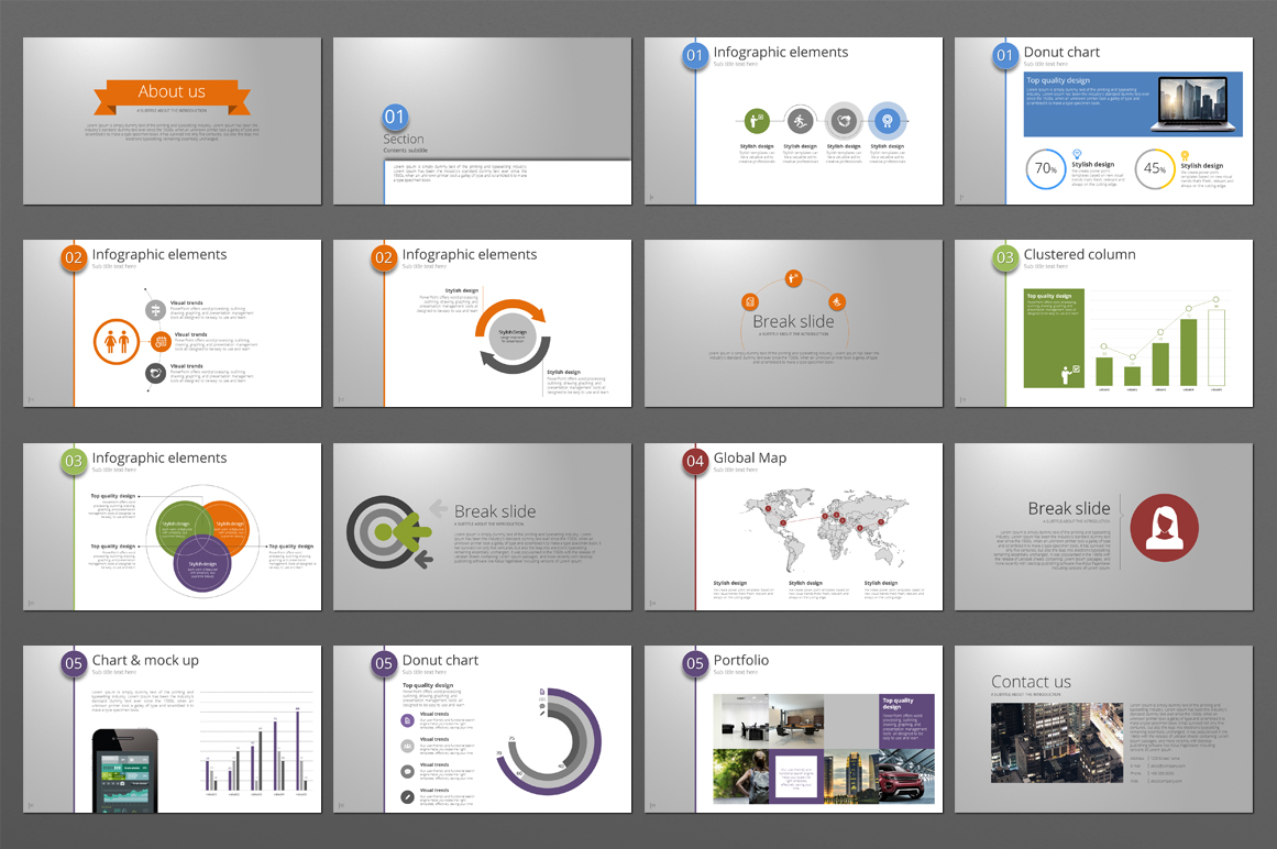Five Color Powerpoint Template example image 3