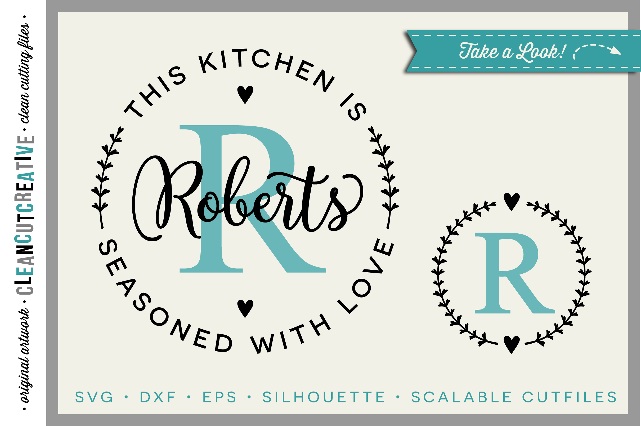 Kitchen Seasoned with Love | Personalize SVG monogram frame example image 1