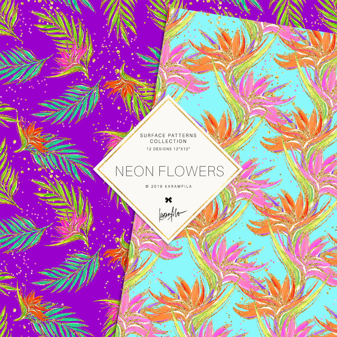 Neon Tropical Digital Paper, Tropical Floral Patterns example image 5