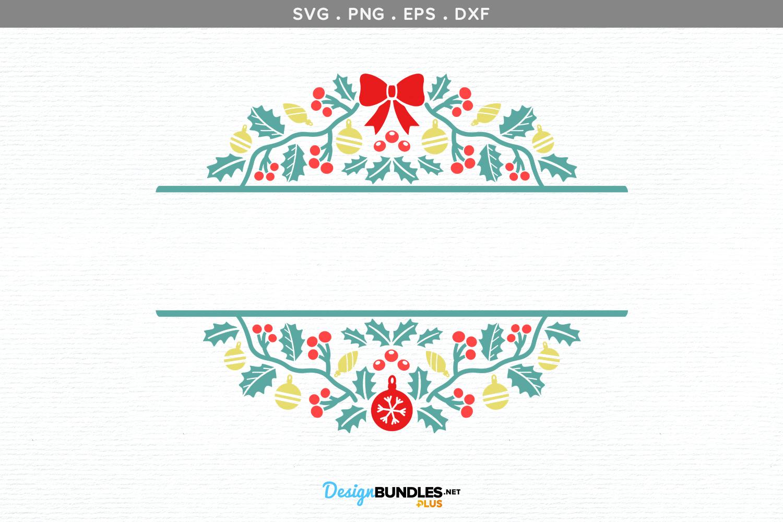 Holiday Split Monogram Frame - svg, printable example image 2