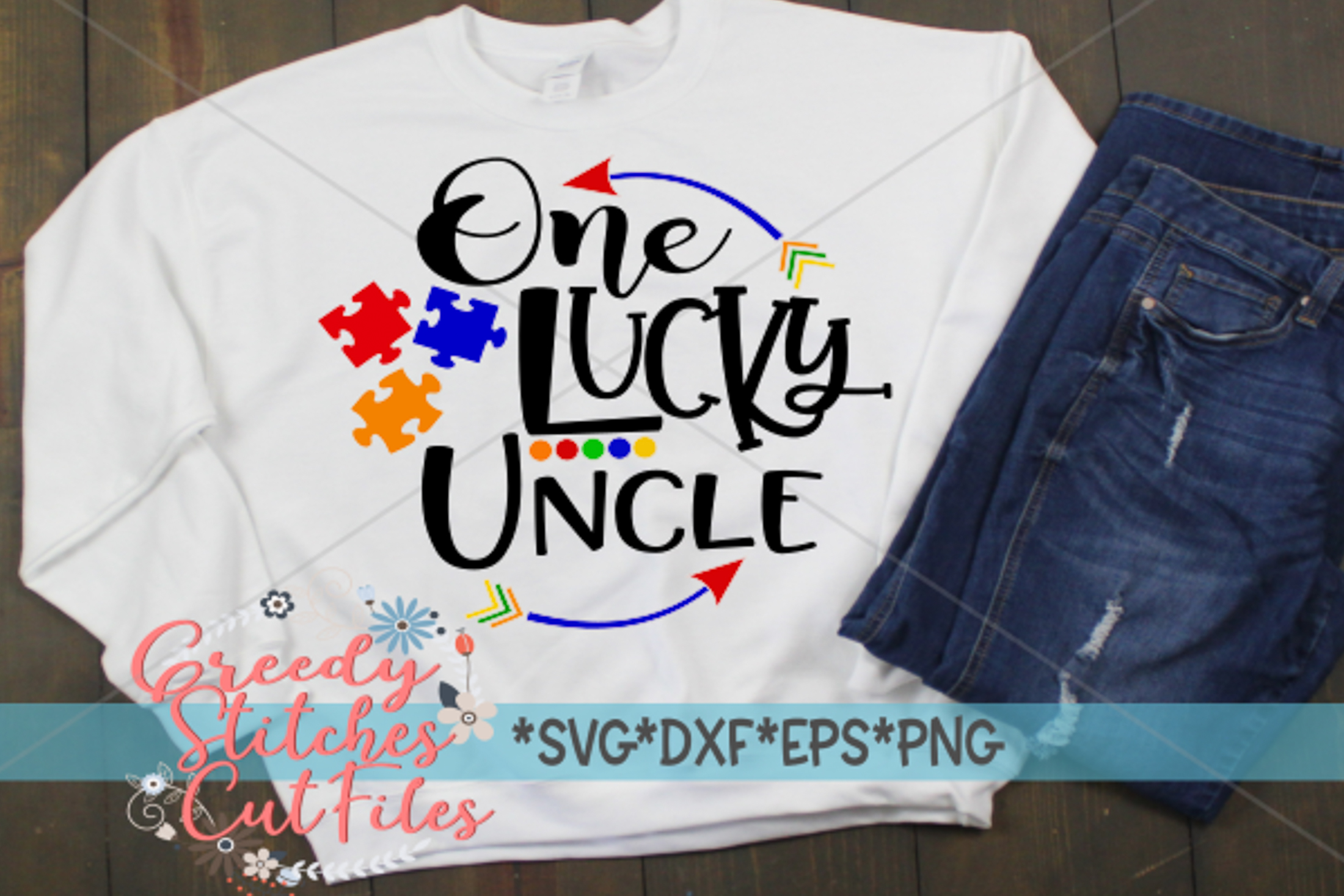 Autism Awareness | One Lucky Uncle Cut File example image 4