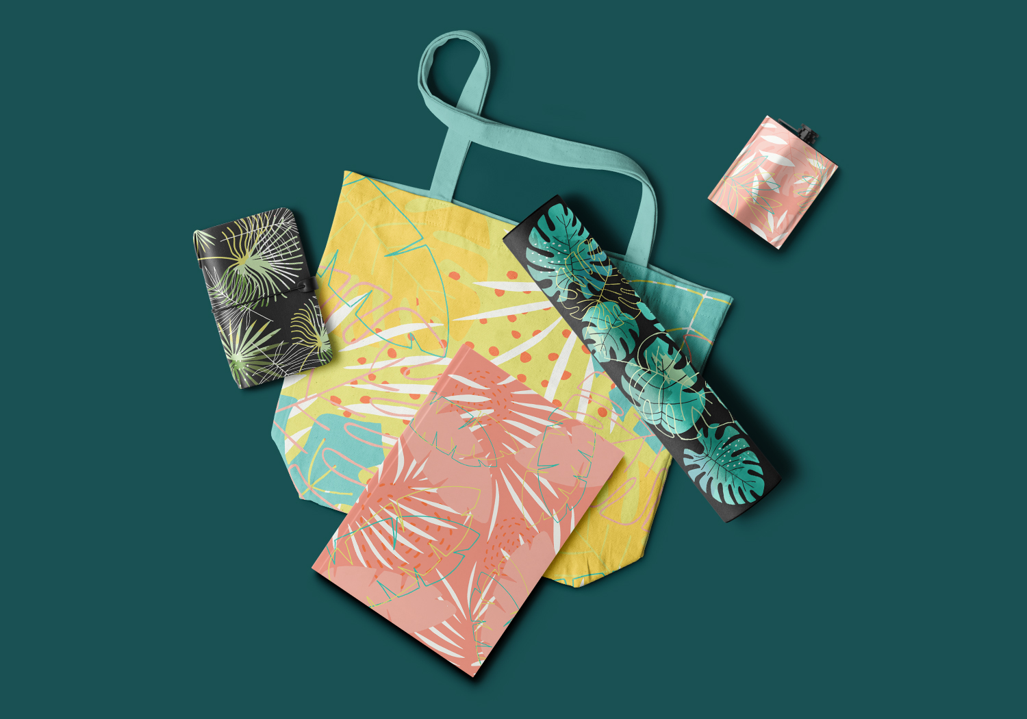Hide in tropical leaves! Summer hand drawn patterns set example image 7
