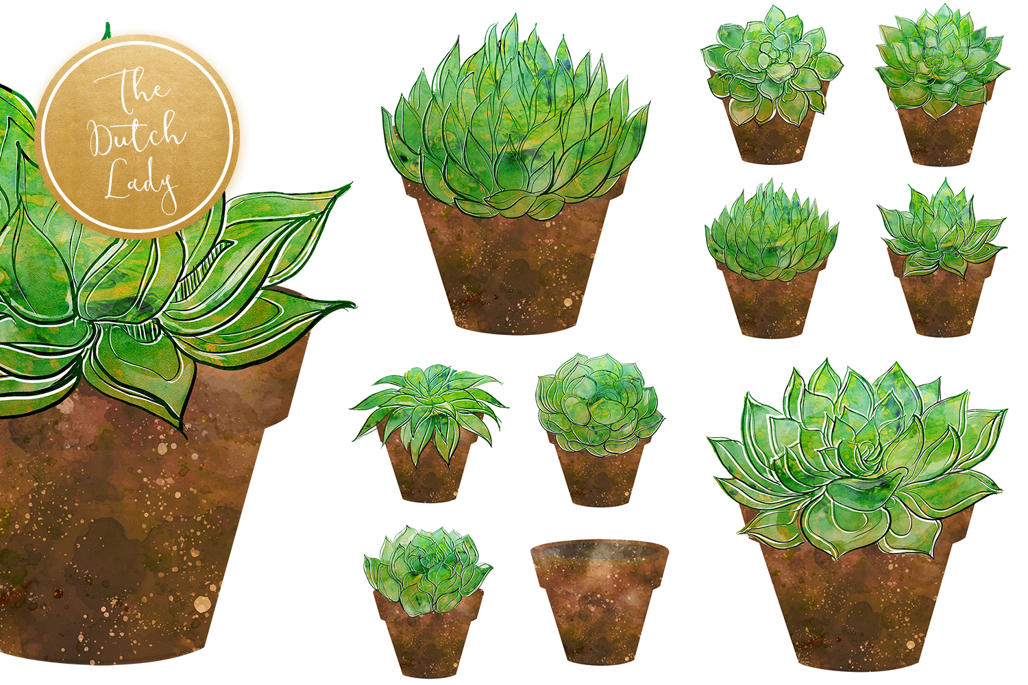 Succulent Potted Plant Clipart Set example image 4