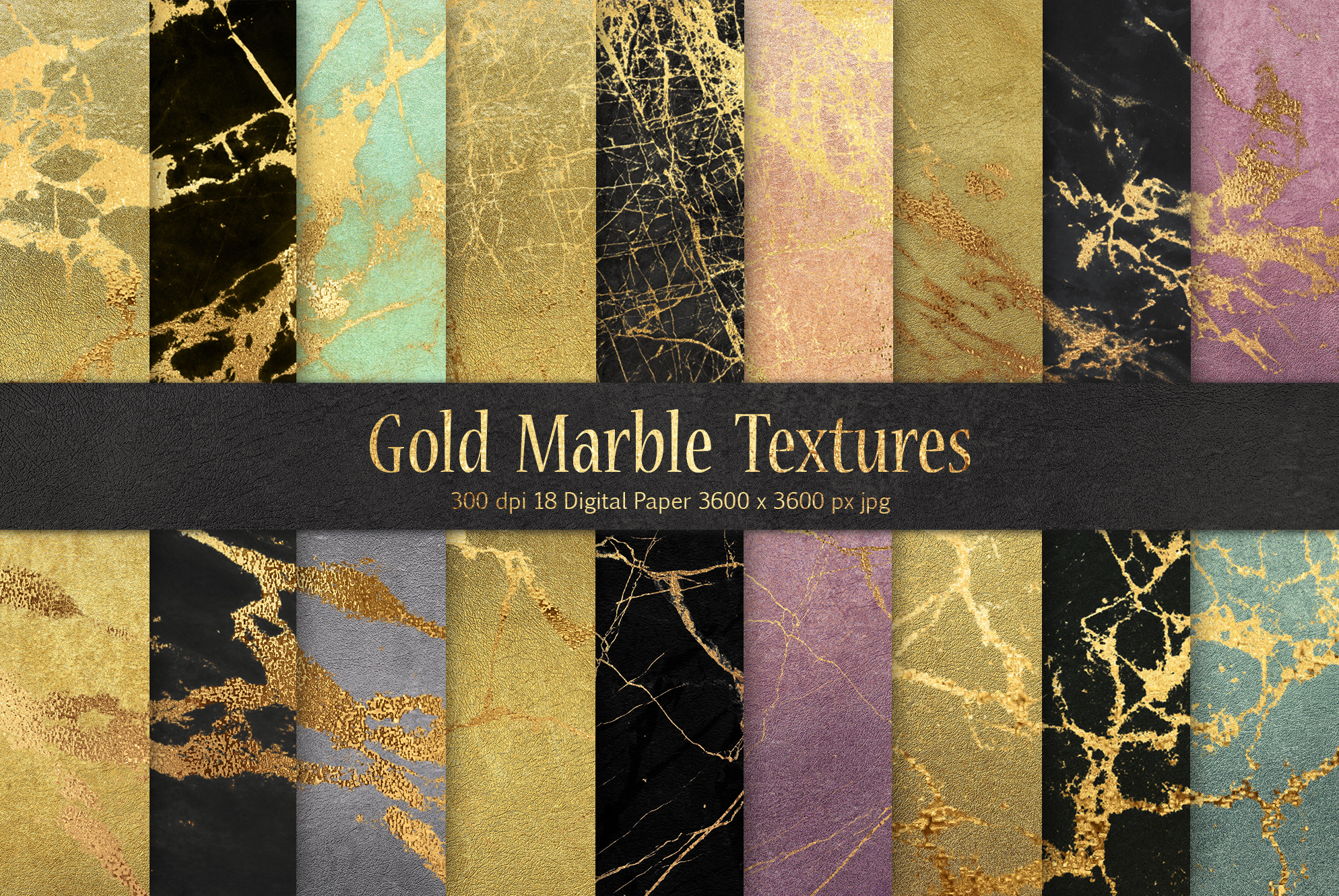 Gold Marble Digital Paper example image 1