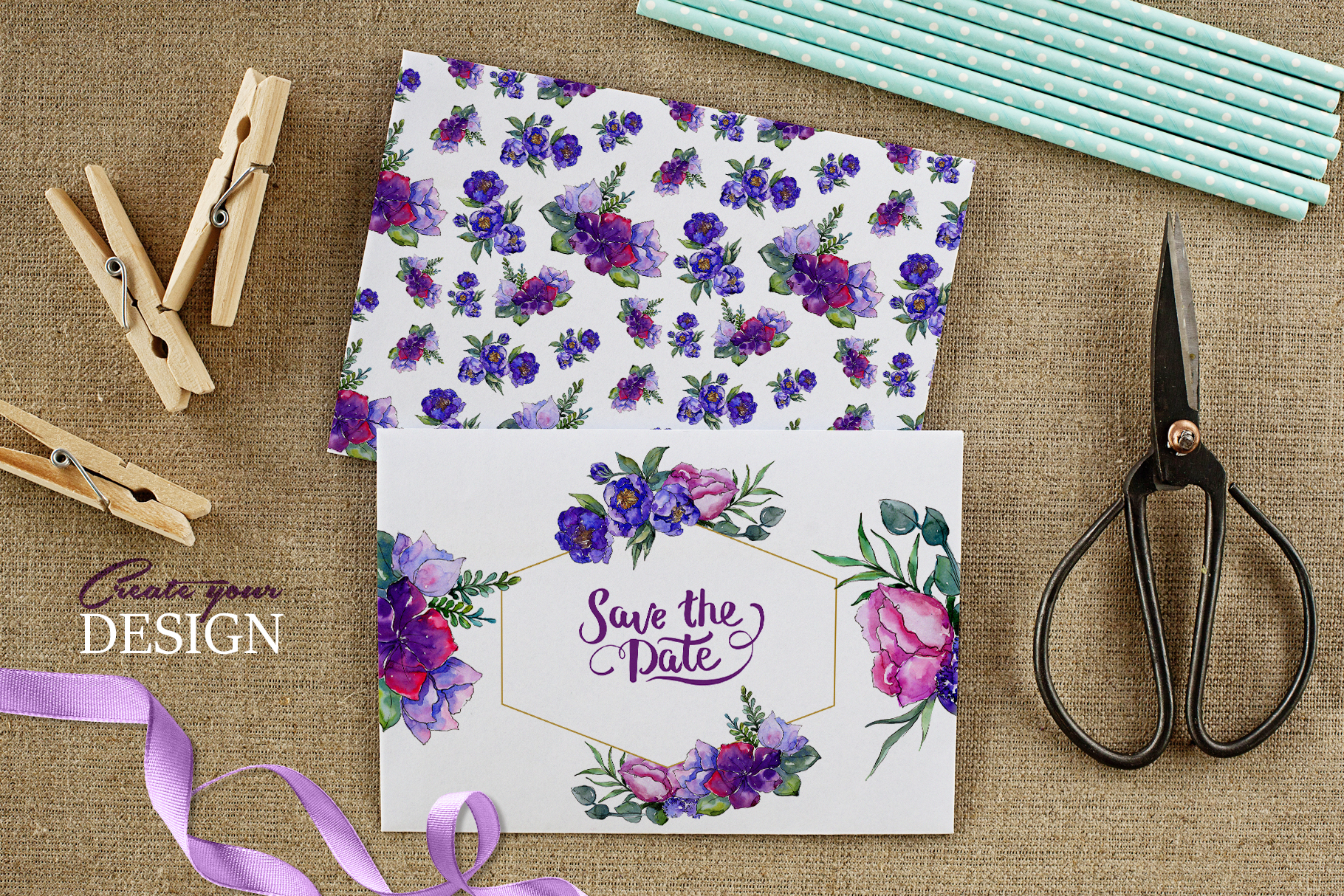 Bouquets of purple flowers Watercolor PNG example image 3