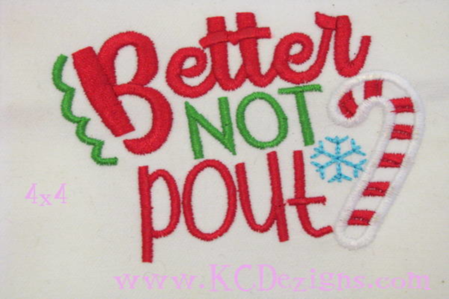 Better Not Pout Christmas Machine Applique Embroidery Design example image 3