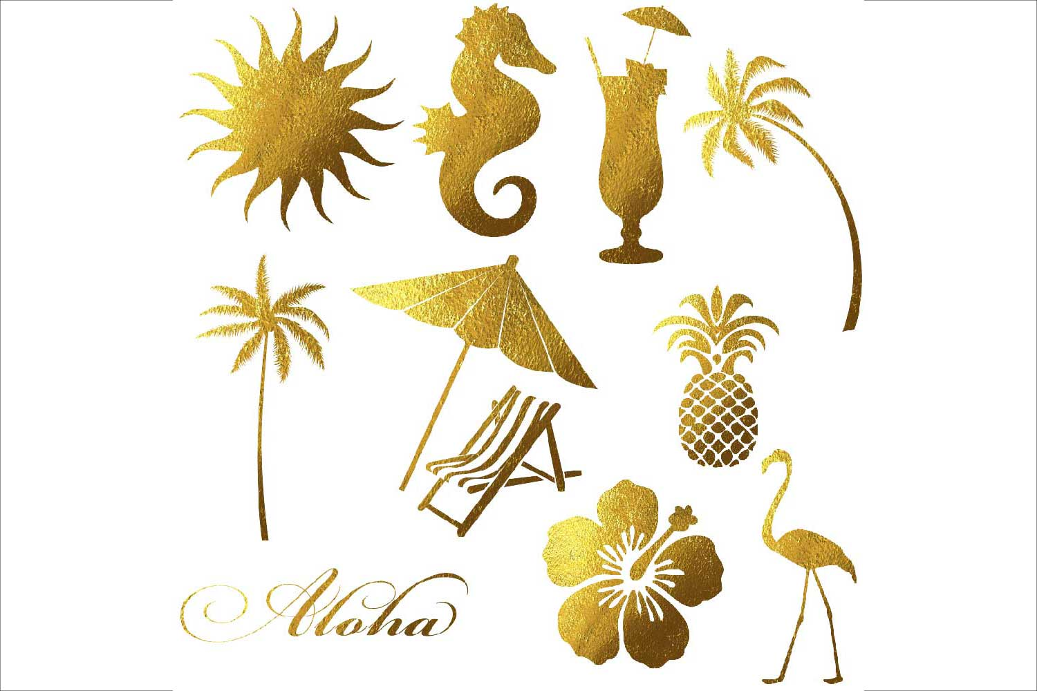 Gold Foil Summer Clipart example image 3