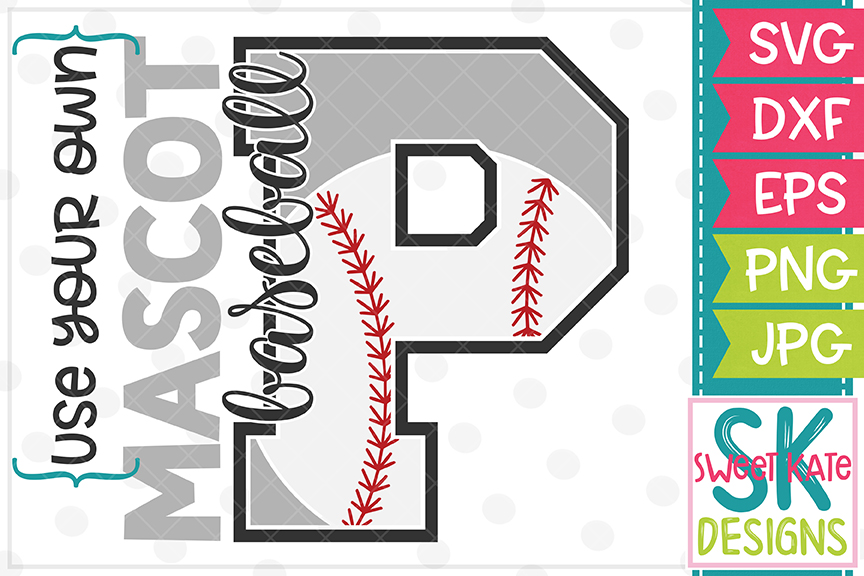 Your Own Mascot P Baseball SVG DXF EPS PNG JPG example image 1