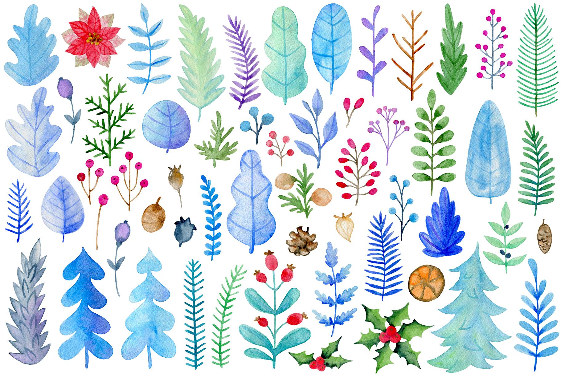 Winter Watercolor Design Kit example image 2