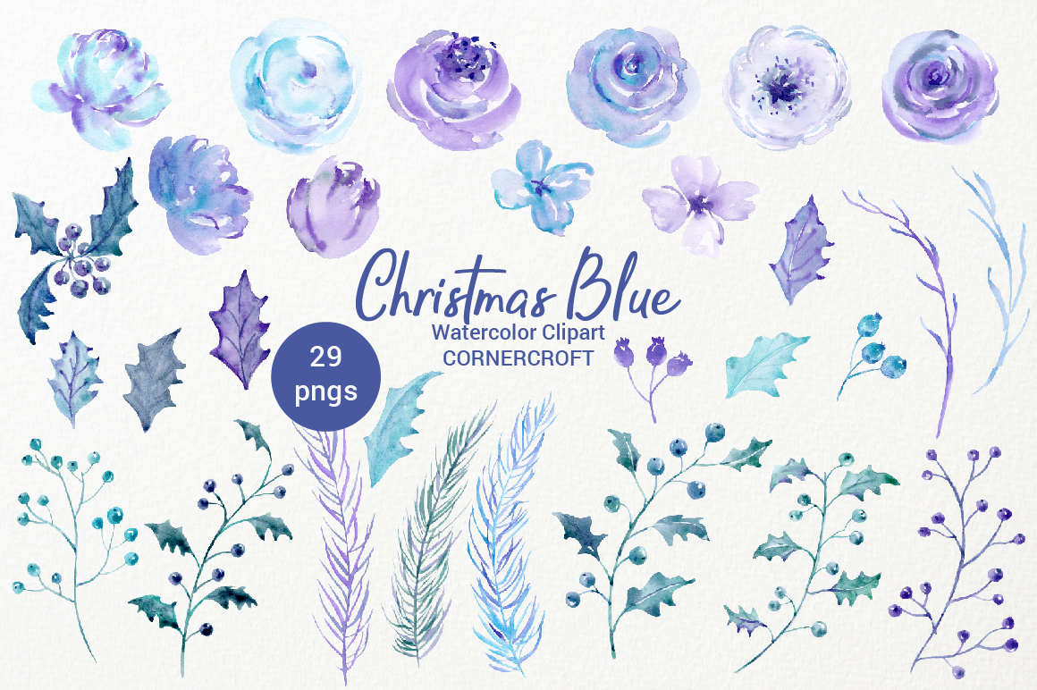 Watercolor Clip Art Christmas Blue example image 2