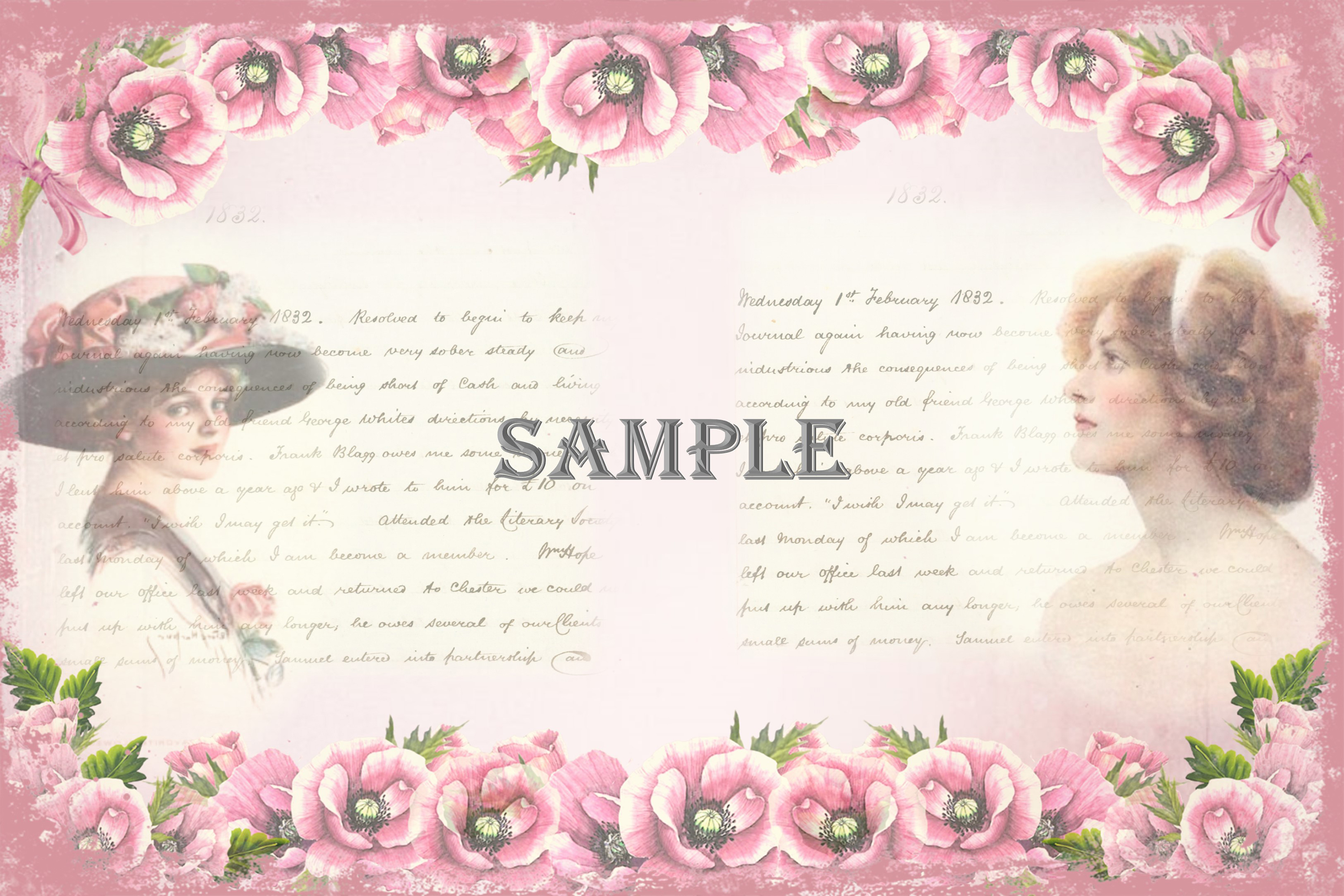 Vintage Ladies Backgrounds, Collage or Journal Sheets, A4 example image 5