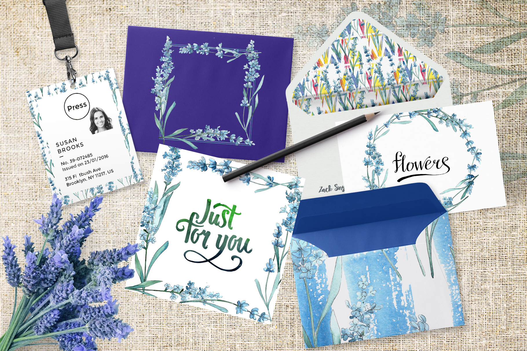 Scented lavender PNG watercolor flower set example image 3