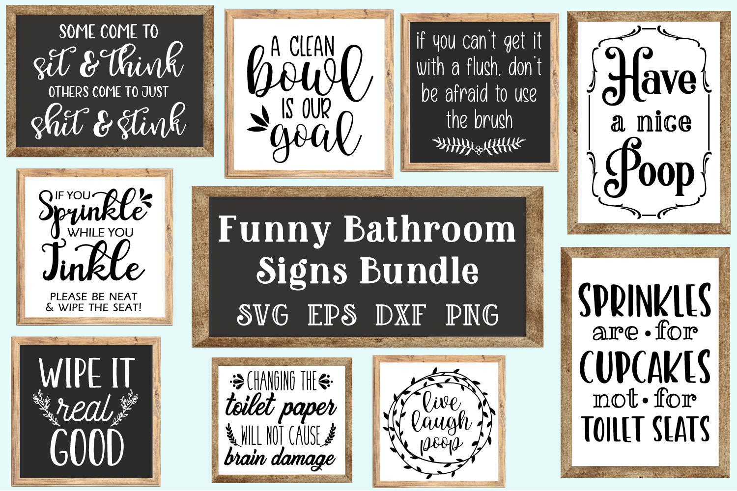 Bathroom Signs Bundle Svg Eps Dxf Png