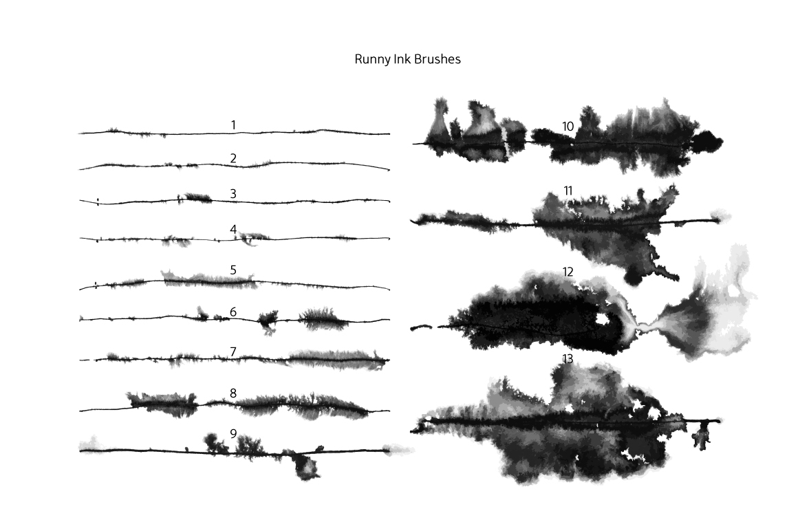 Runny Ink Brushes for Illustrator example image 6