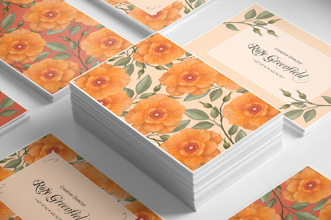 Peach Wild Rose Business Card Template example image 3