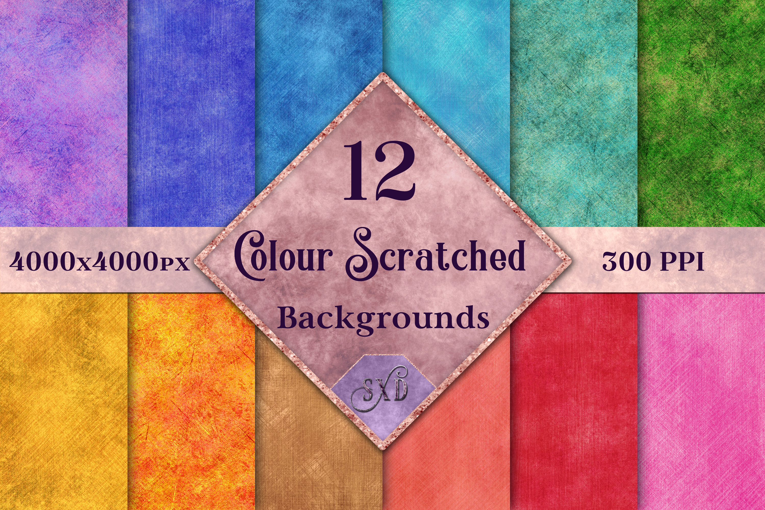 Colour Scratched Backgrounds - 12 Image Textures Set example image 1