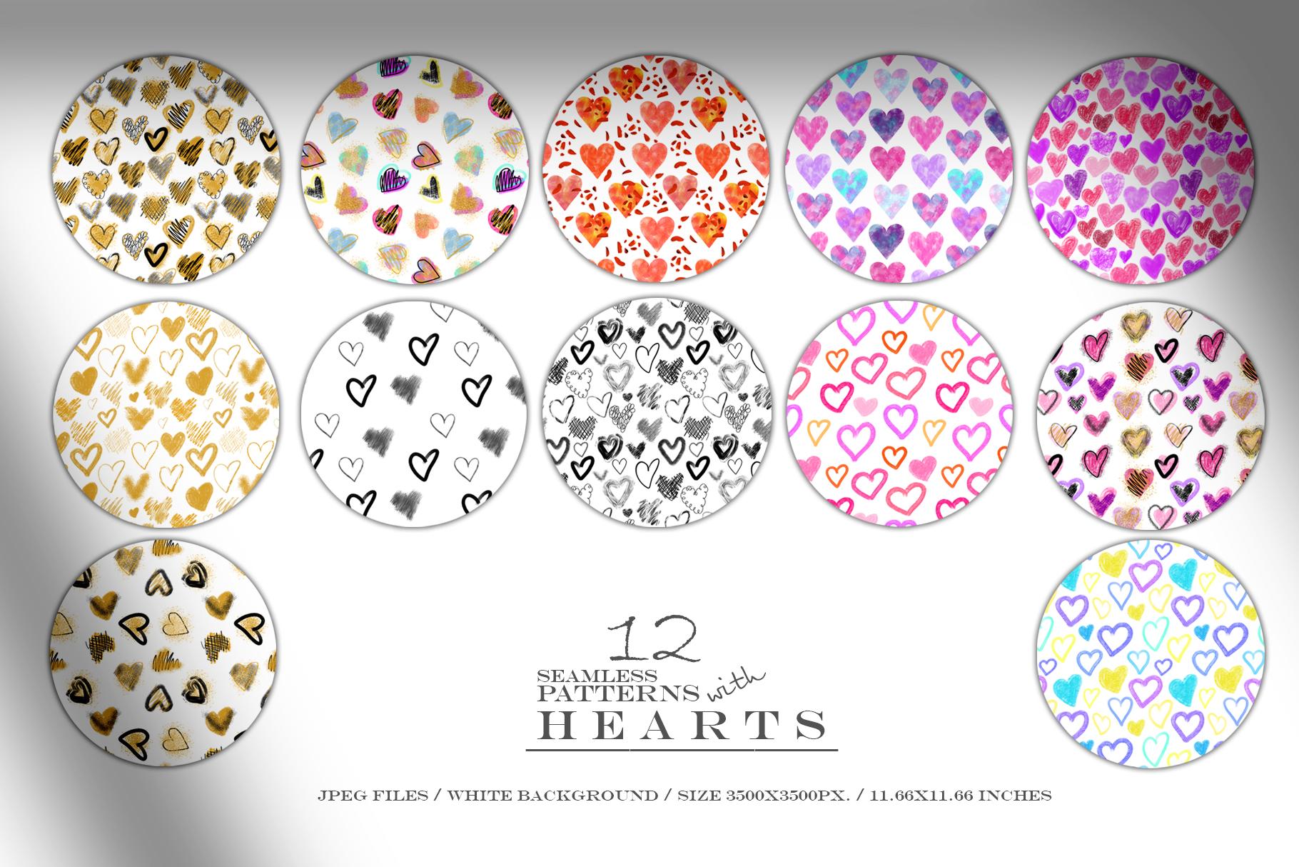 Stylish Hearts. 12 patterns example image 2