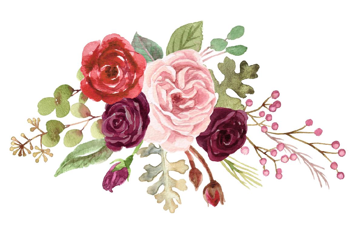 Watercolor Marsala Roses & Foliage