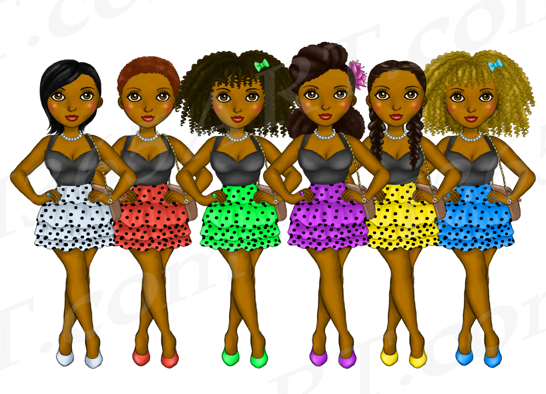 Polka Dot Dress Girls Clipart, Black Girl Dolls Fashion PNG example image 2