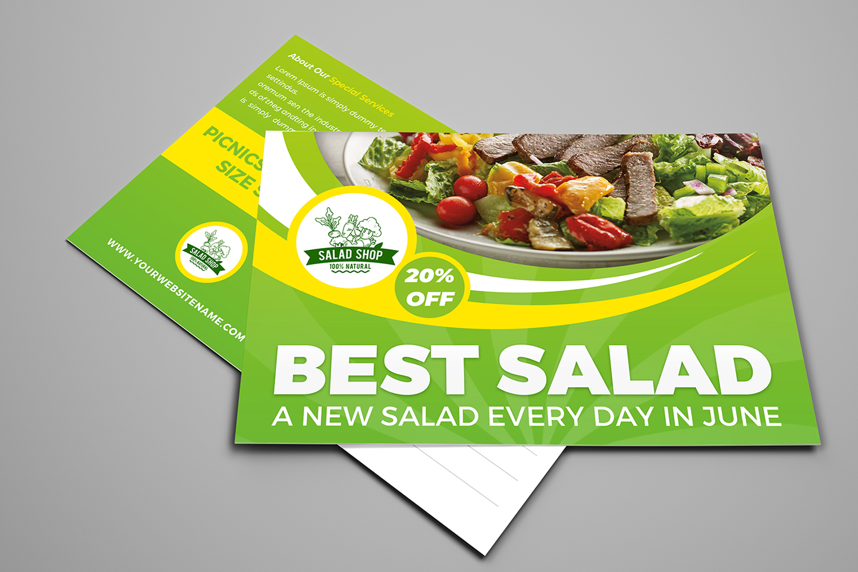 Salad Restaurant Postcard Template example image 1