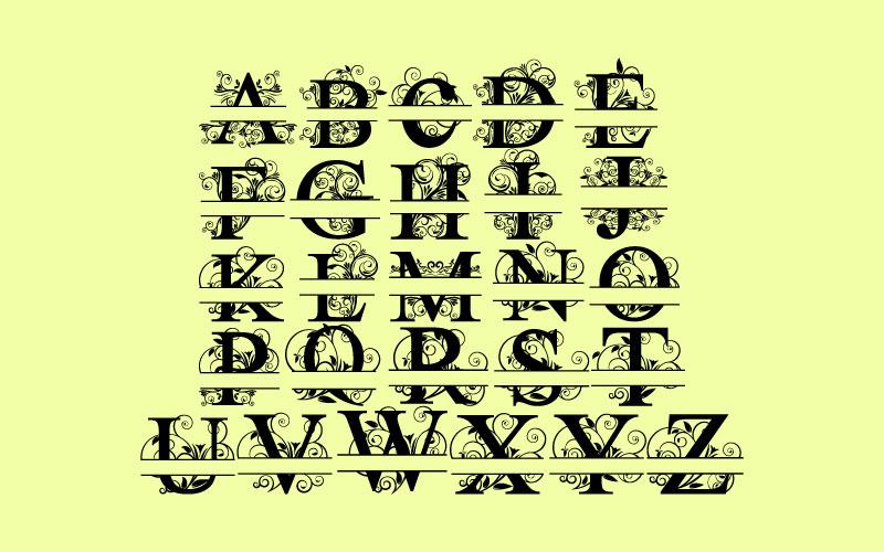 Split Letters A-Z SVG  Vectors Svg Dxf Png Jpg Eps vector file Cut Files example image 3