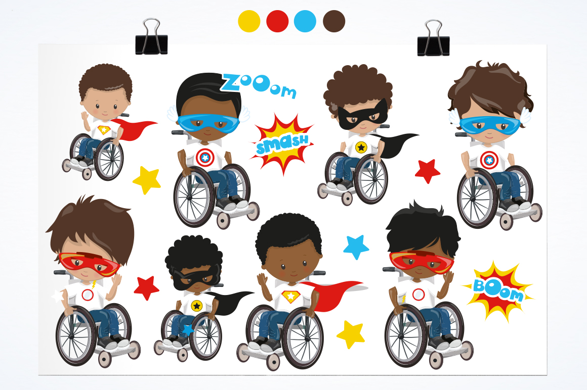 Superhero in wheelchair graphic and illustrations example image 3