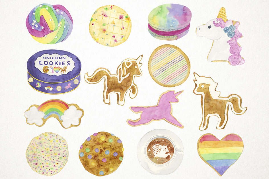 Watercolor Cookies Clipart, Unicorn Cookies Clip Art example image 2