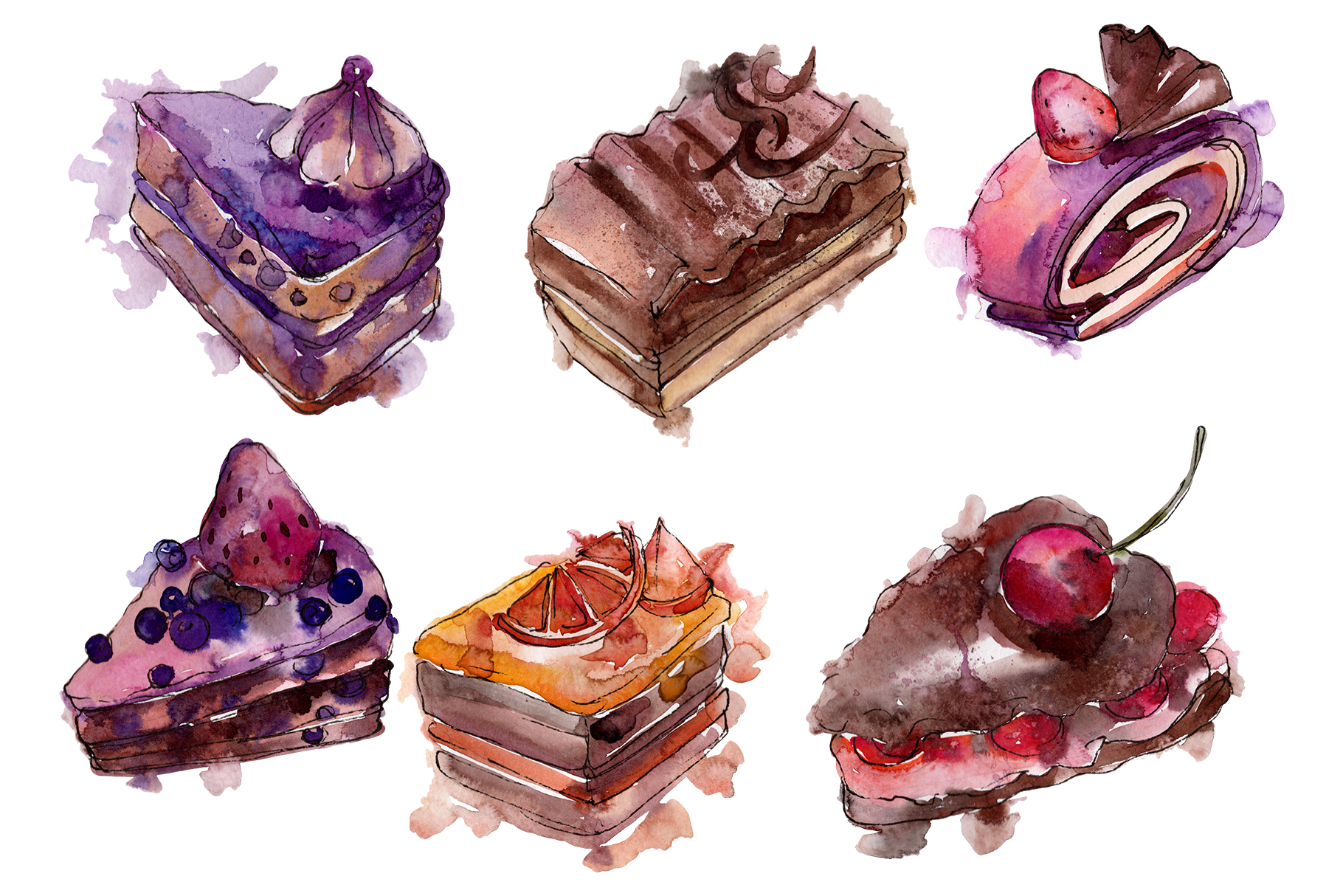 Sweet yummy cake Watercolor png example image 1