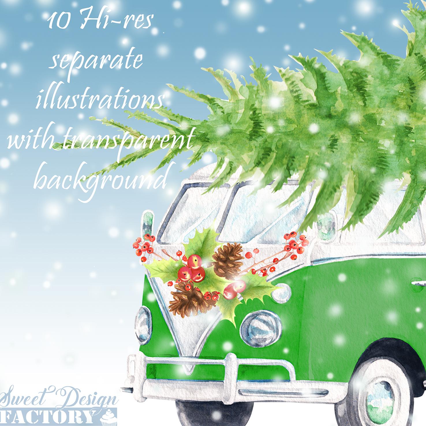 Christmas retro van cliparts. example image 6