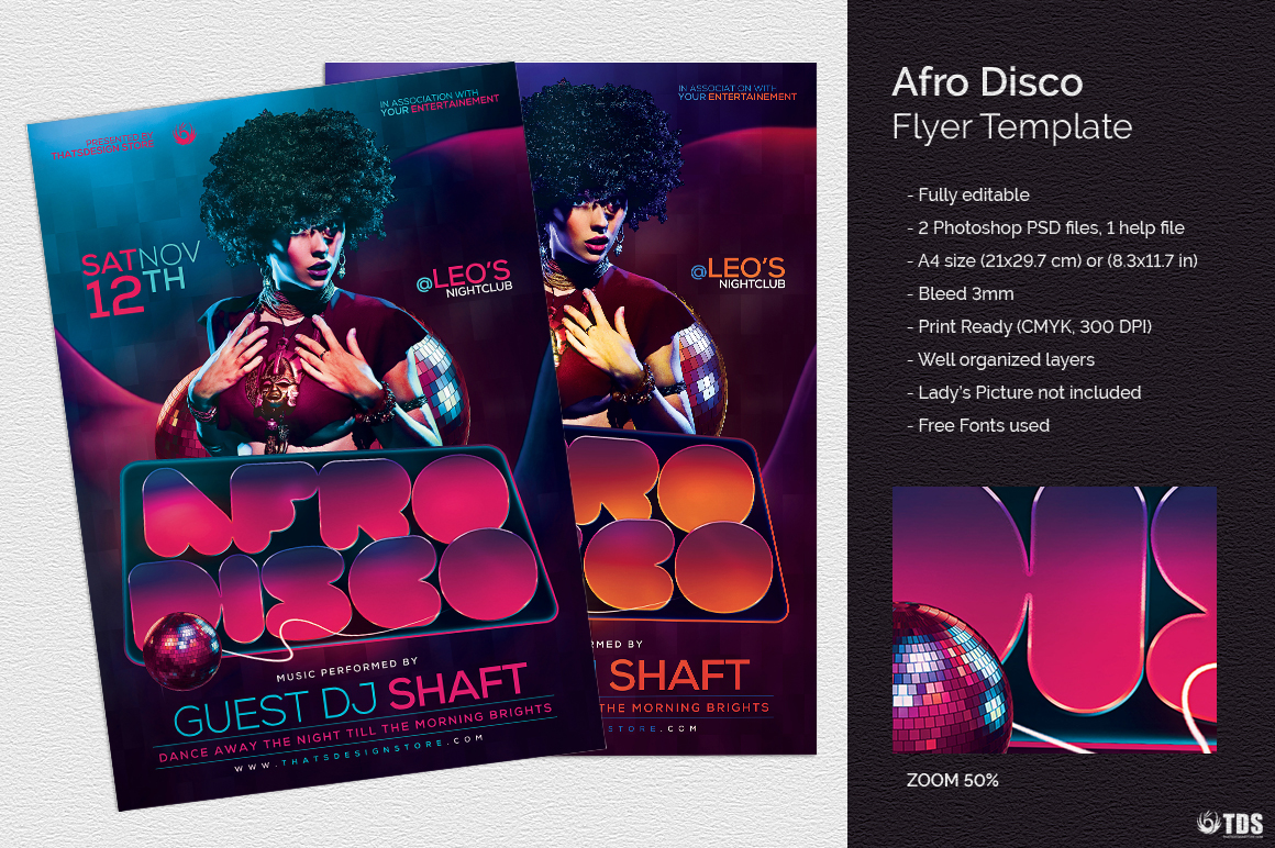 Afro Disco Flyer Template example image 1