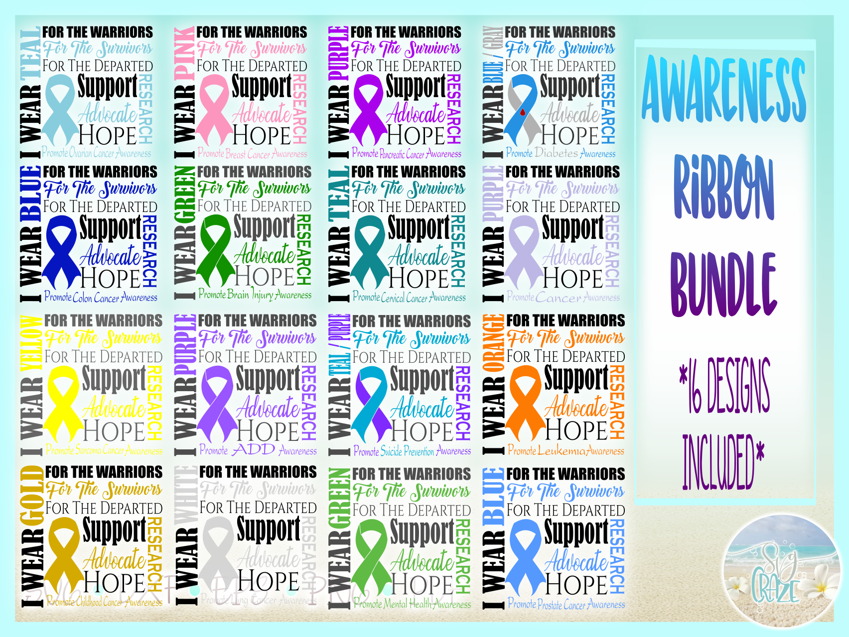 Awareness Ribbon Bundle SVG Dxf Eps Png files example image 3