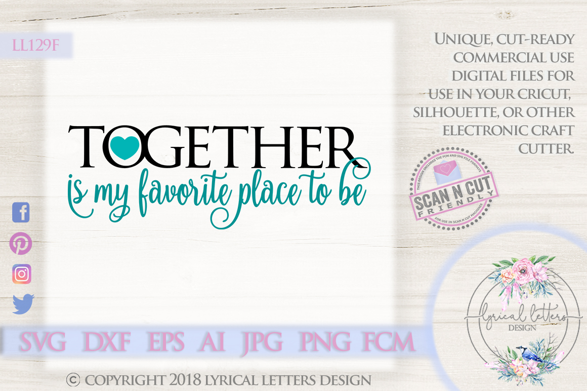 Together is My Favorite Place To Be Wedding SVG DXF LL example image 1