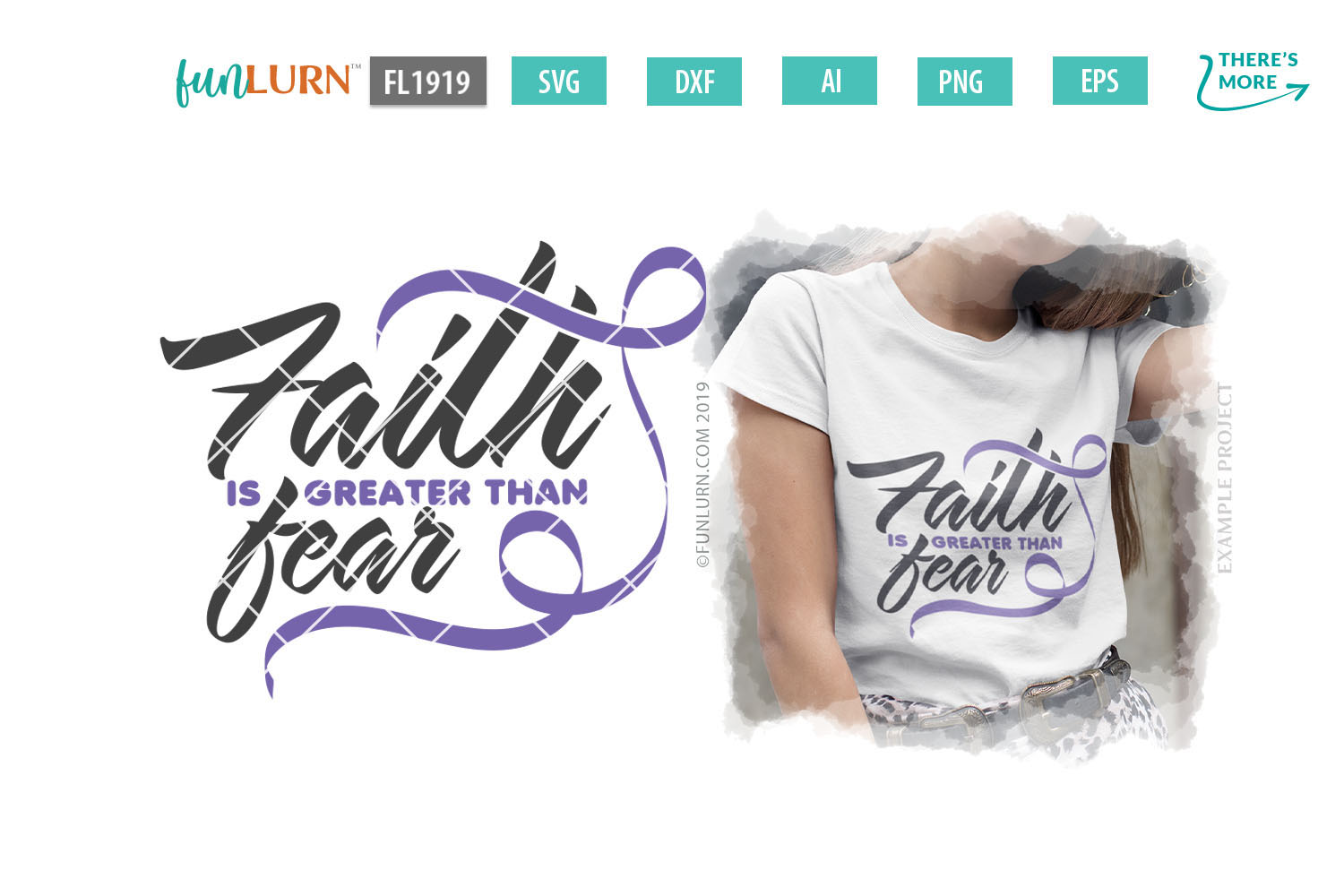Faith is Greater Than Fear Lilac Ribbon SVG Cut File example image 1