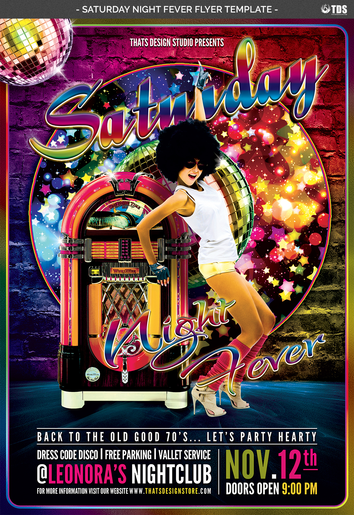 Saturday Night Fever Flyer Template example image 3