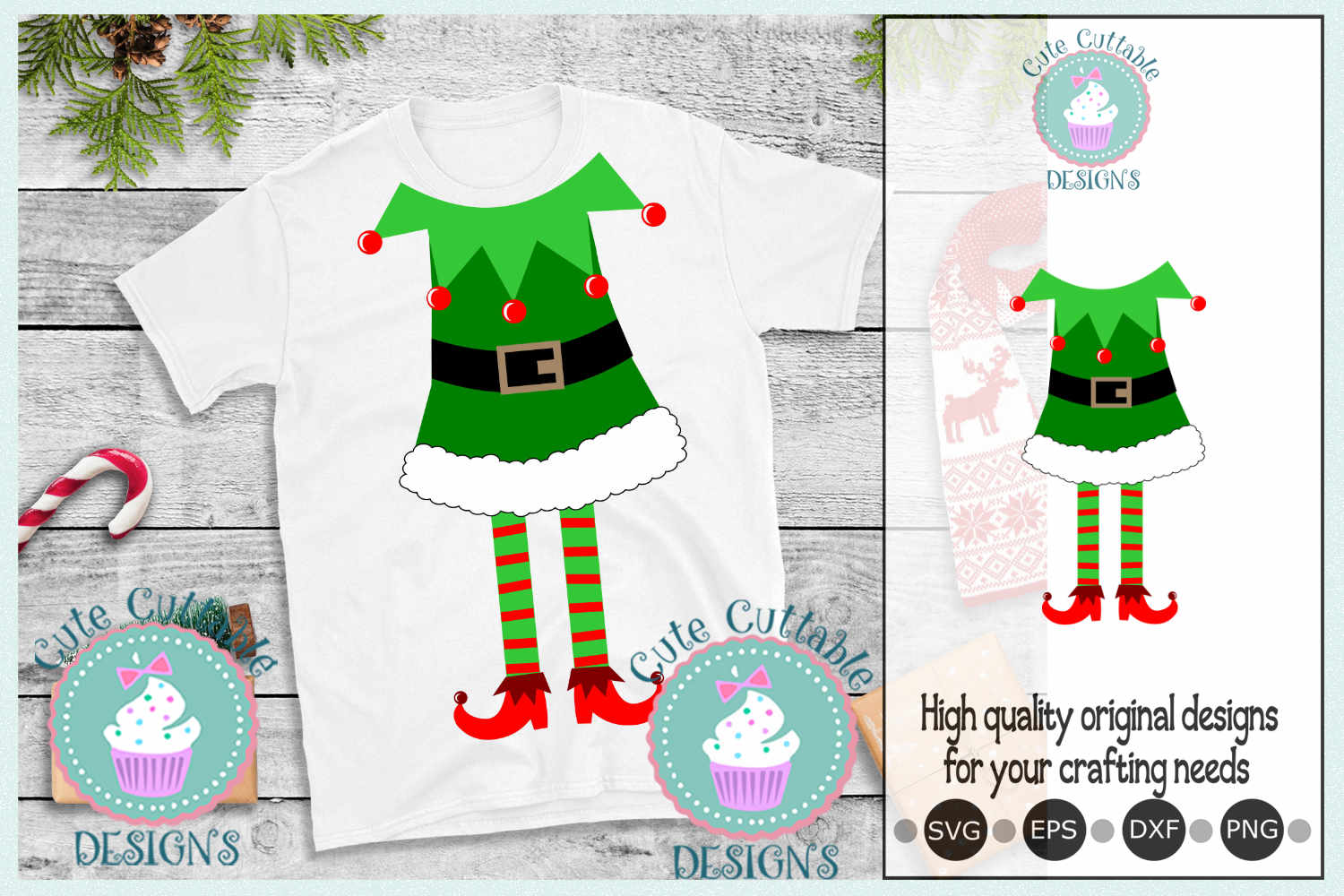 Elf SVG, Ugly Christmas sweater, Christmas SVG, Elf suit svg example image 1