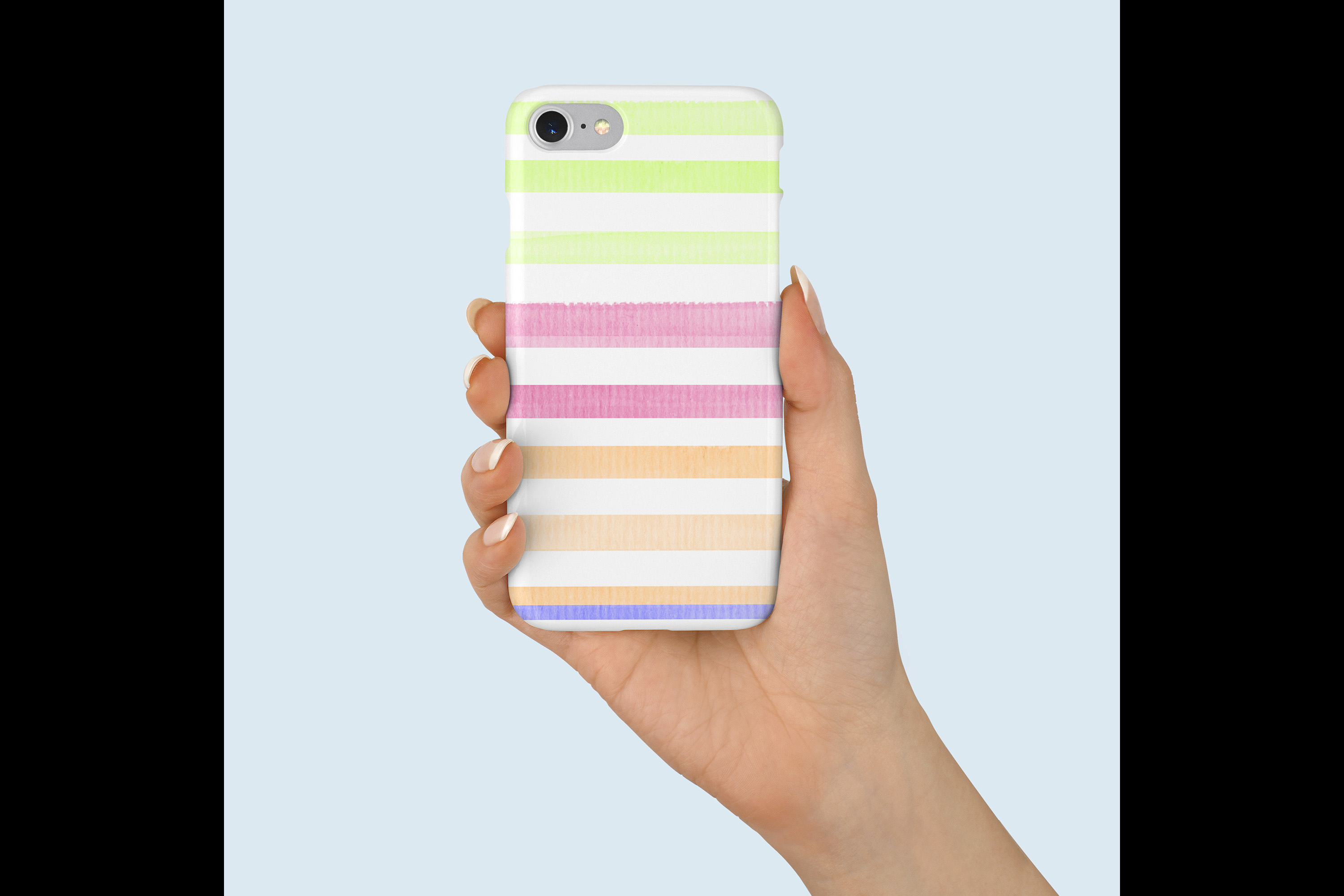 16 Seamless Watercolor Pastel Rainbow Ombre Stripes Papers example image 6