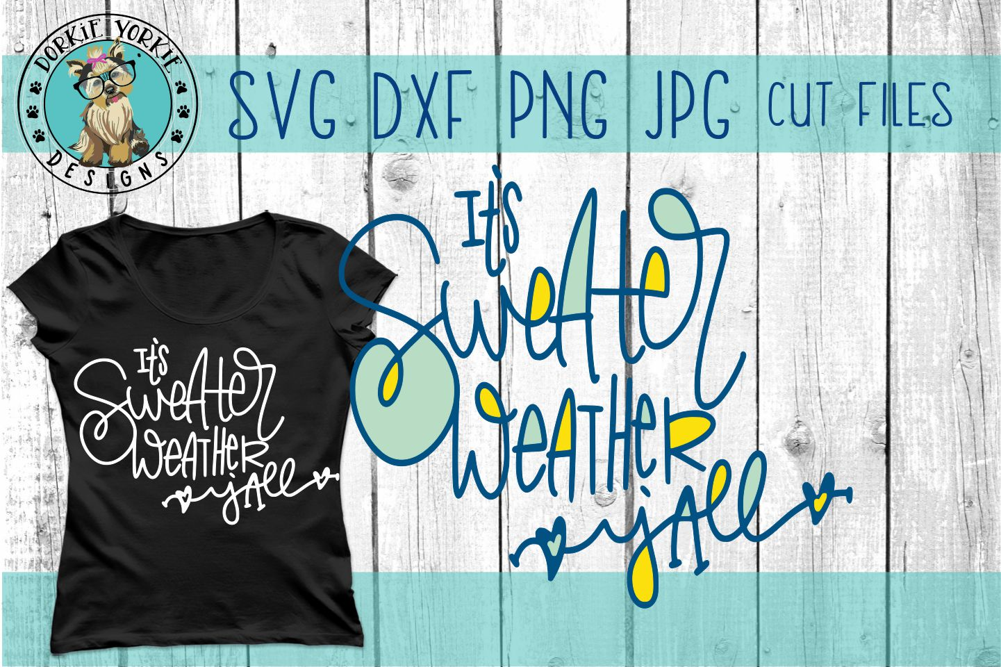 It's Sweater Weather Y'all Hand lettered - SVG Cut File example image 1