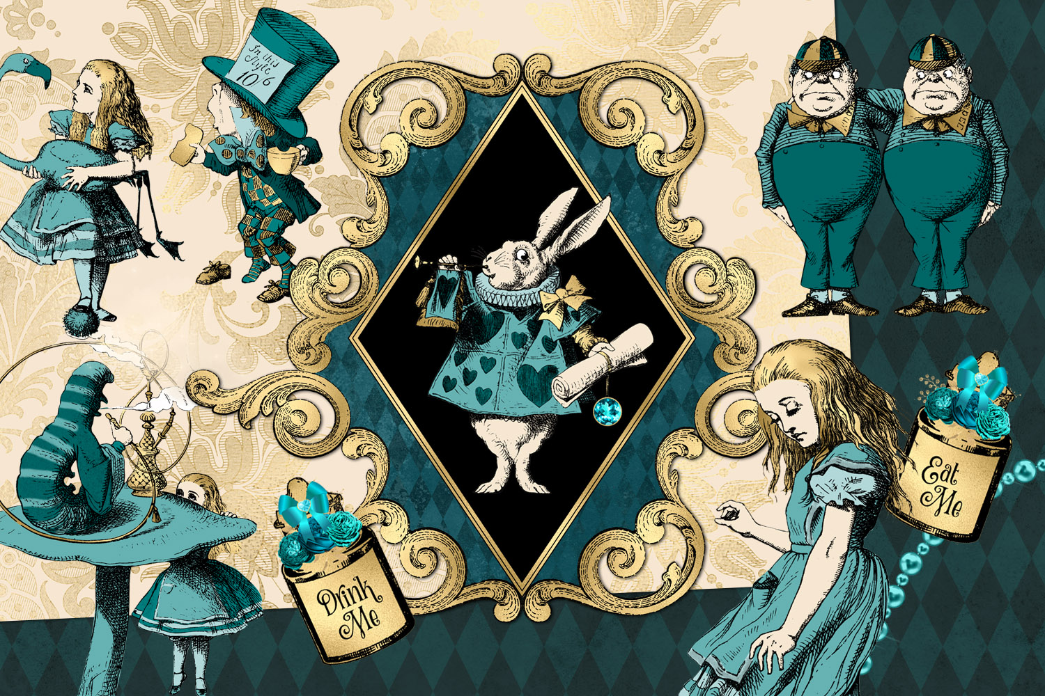 Teal and Gold Alice in Wonderland Graphics example image 2