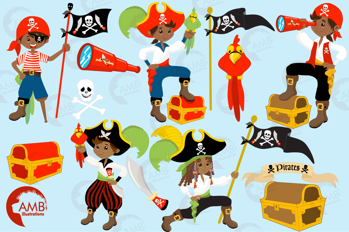 Pirate boys, African American Pirate clipart, graphics and illustrations AMB-174 example image 4