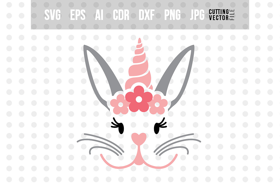 Bunny Face SVG - Cut File for Crafters example image 1
