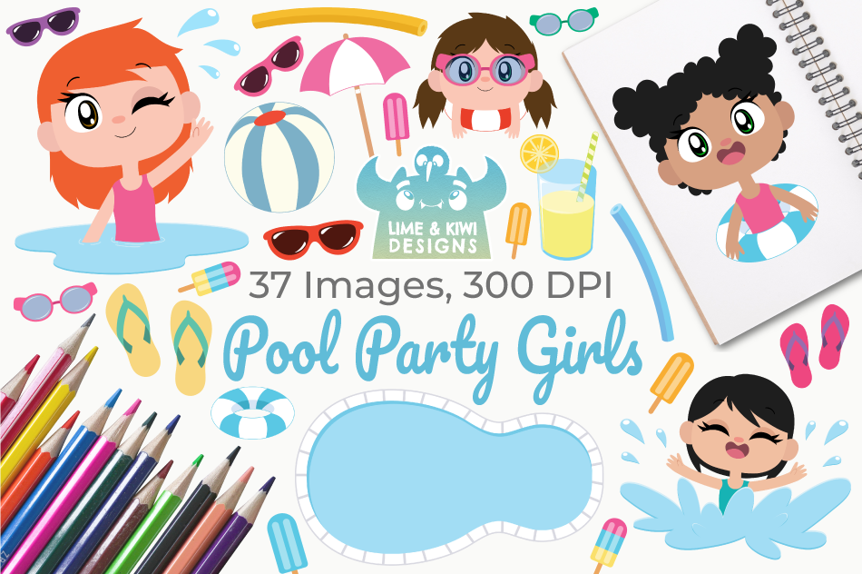 Pool Party Girls Clipart, Instant Download Vector Art example image 1
