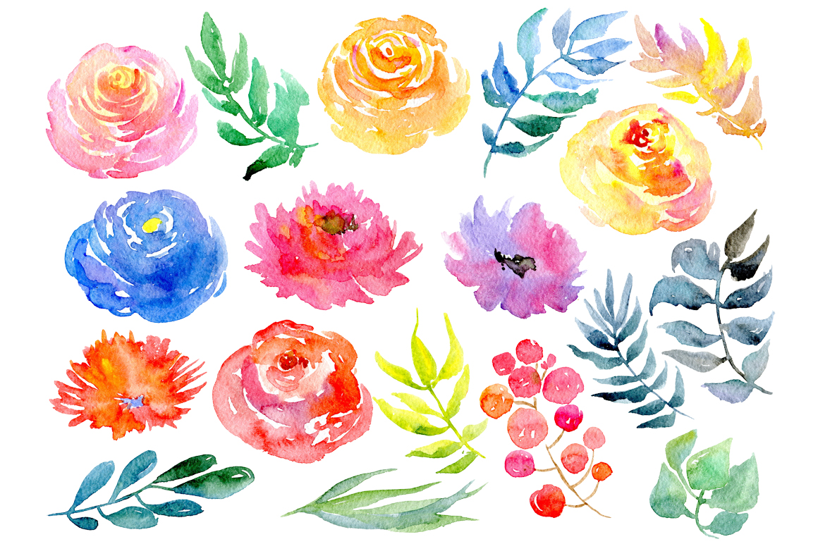 Watercolor flower clipart example image 2
