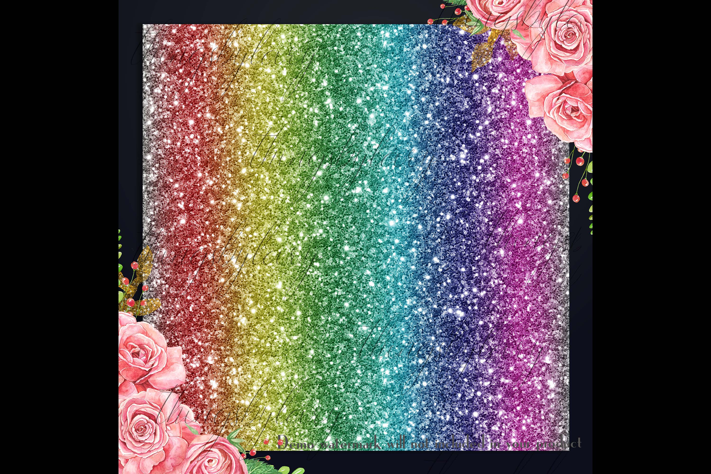 30 Rainbow Shimmering Fairy Unicorn Glitter Digital Papers example image 3