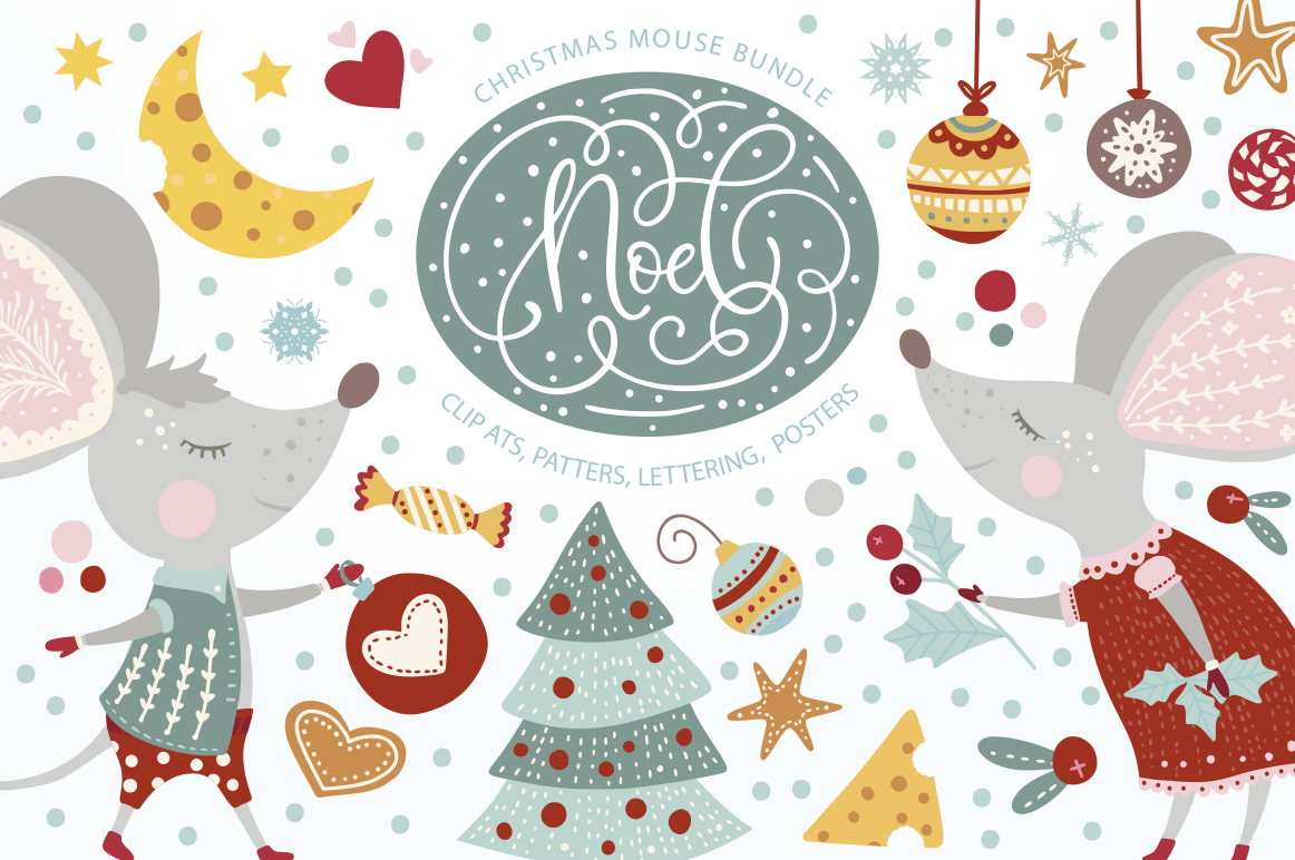 Noel. Christmas Mouse Bundle. example image 1