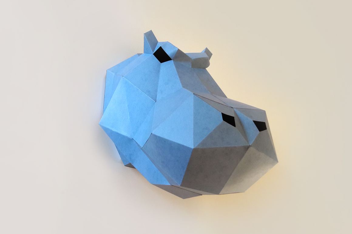 DIY Hippo head Trophy - 3d papercraft example image 1