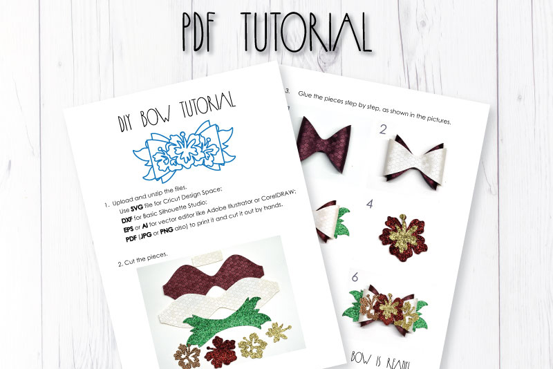 Wreath Hair bow template SVG, DIY leather bow template example image 3