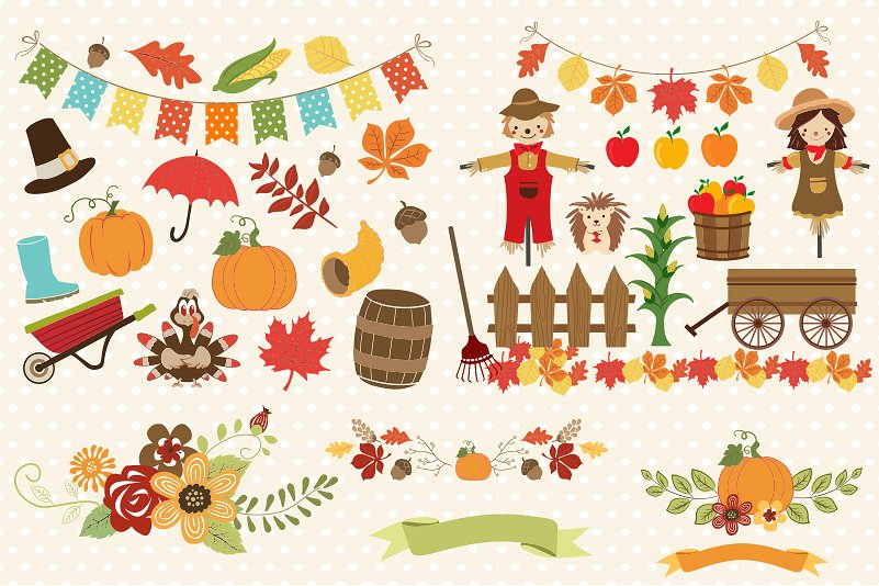 Autumn Clipart Bundle - 138 cliparts Eps and PNG example image 4