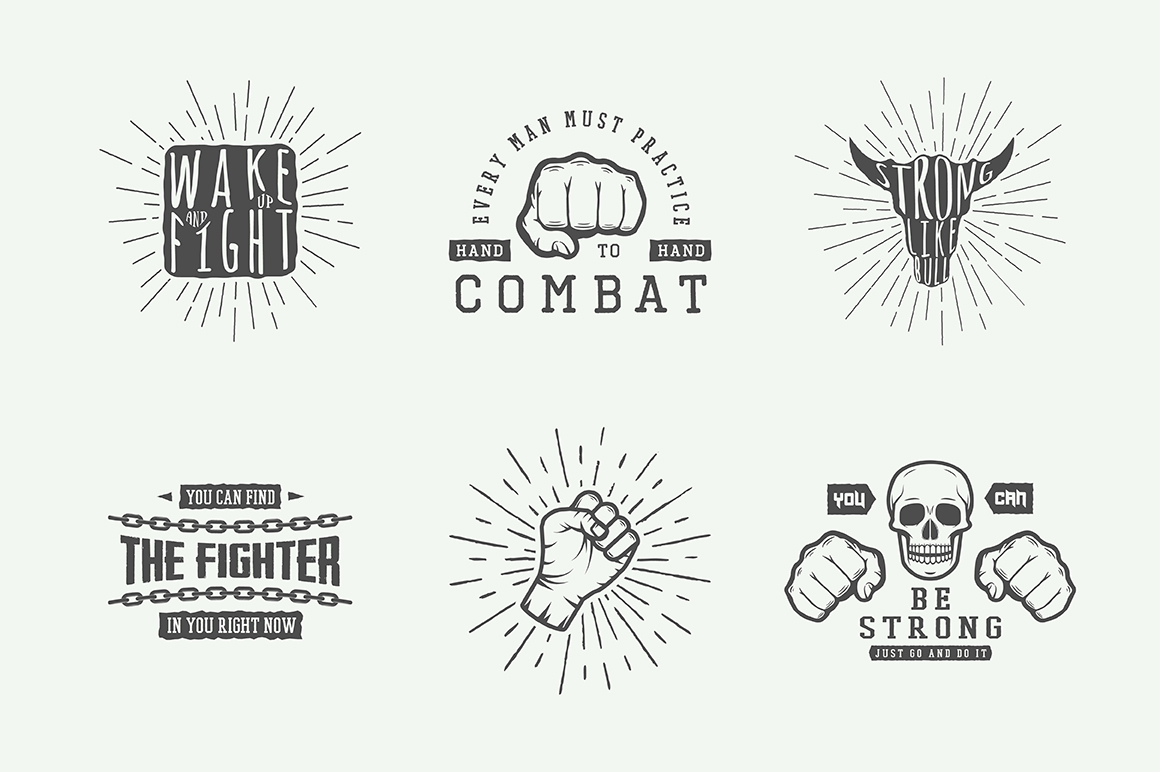 Vintage Fighting Emblems Bundle example image 2