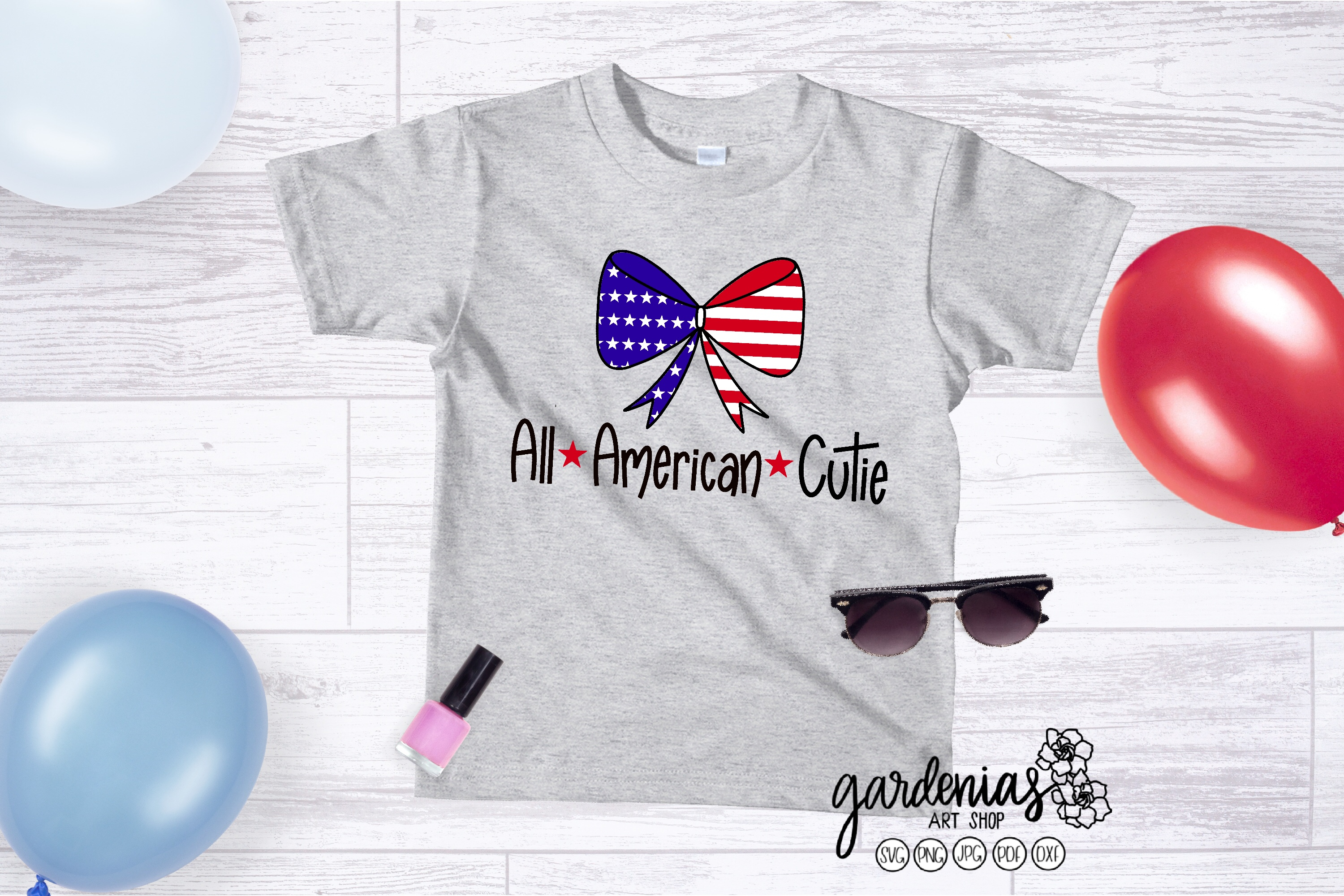 All American Cutie SVG | Flag Bow | Girl's 4th of July example image 1